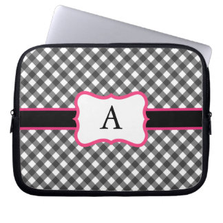 Monogrammed Gingham Laptop Case