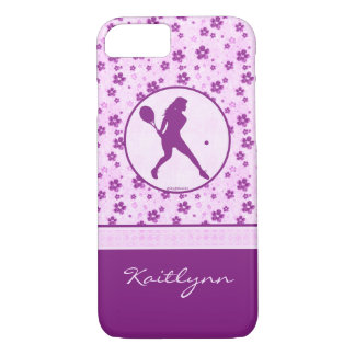 Monogrammed Girl's Tennis Purple Heart Floral iPhone 7 Case