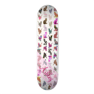 Monogrammed Girly Whimsical Cats floral stripes Skate Deck