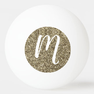 Monogrammed Glitter Elegant Gold and White Ping Pong Ball