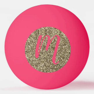 Monogrammed Glitter Elegant Pink and Gold Ping Pong Ball