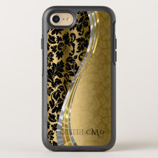 Monogrammed Gold And Black Damask OtterBox Symmetry iPhone 7 Case