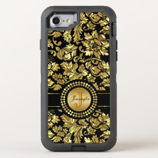 Monogrammed Gold And Black Damask Pattern OtterBox Defender iPhone 8/7 Case