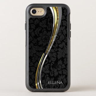 Monogrammed Gold And Black Damask Pattern OtterBox Symmetry iPhone 7 Case