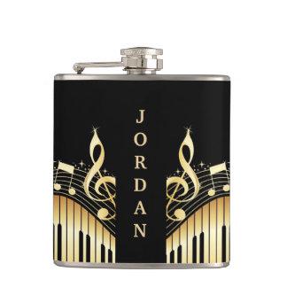 Monogrammed Gold And Black Musical Keyboard Hip Flask