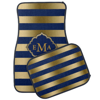 Monogrammed Gold And Blue Stripes Car Liners