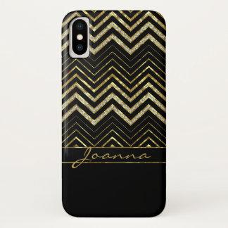 Monogrammed Gold And Diamonds Chevron iPhone X Case