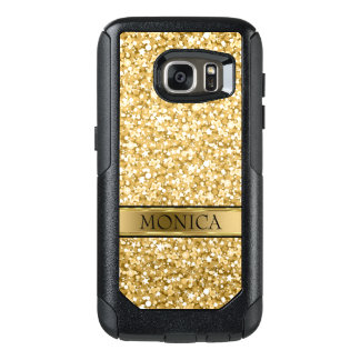Monogrammed Gold And White Sparkling Glitter OtterBox Samsung Galaxy S7 Case