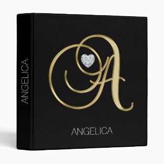 Monogrammed Gold Black Initials 'A' Diamond Heart Vinyl Binder