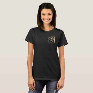 Monogrammed Gold Black Topography Diamond Heart T-Shirt