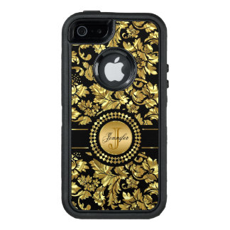 Monogrammed Gold Damask Pattern OtterBox Defender iPhone Case