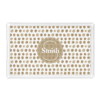 Monogrammed Gold Dots pattern Acrylic Tray