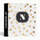 Monogrammed Gold Faux Glitter Dots on White Binder