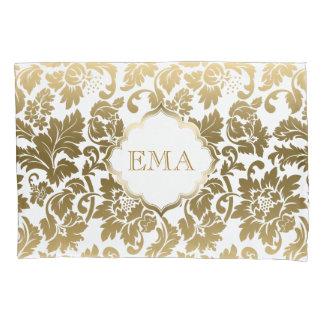 Monogrammed Gold Floral Damask Pillowcase