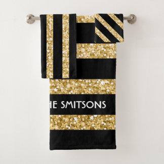 Monogrammed Gold Glitter And Black Stripes Bath Towel Set