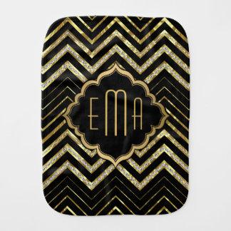 Monogrammed Gold Glitter & Zigzag Chevron Pattern Burp Cloth
