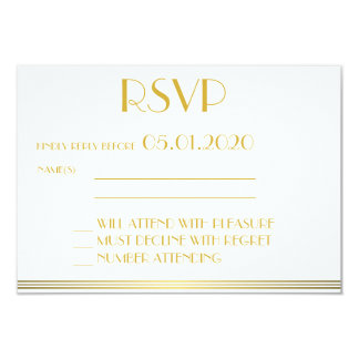 Monogrammed Gold Great Gatsby Wedding RSVP Cards