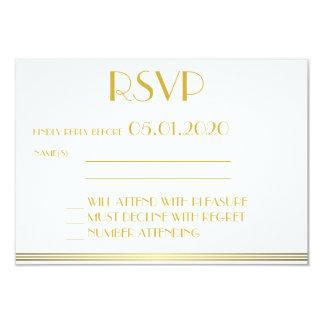 "Monogrammed Gold Great Gatsby Wedding RSVP Cards 3.5"" X 5"" Invitation Card"