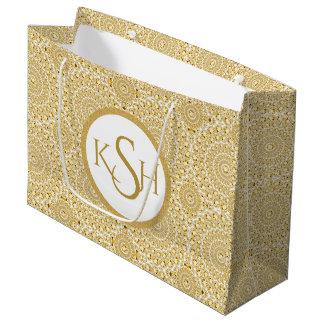 Monogrammed Gold On White Diamond Circles Pattern Large Gift Bag