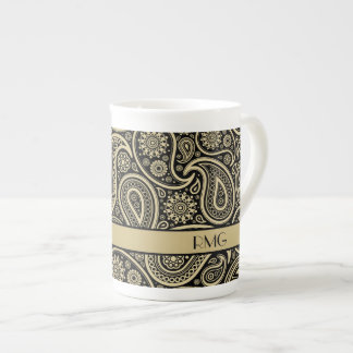 Monogrammed Gold Paisley on Black & Gold Ribbon Tea Cup