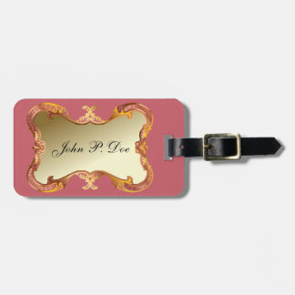 Monogrammed Gold & Pink Luggage Tag Luggage Tags