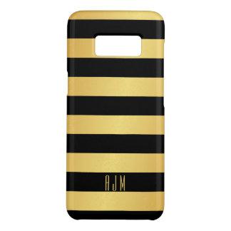 Monogrammed Gold Stripes Over Black Background Case-Mate Samsung Galaxy S8 Case