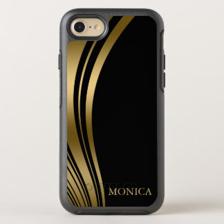 Monogrammed Gold Wavy Stripes OtterBox Symmetry iPhone 7 Case