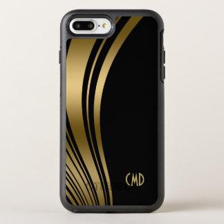 Monogrammed Gold Wavy Stripes OtterBox Symmetry iPhone 8 Plus/7 Plus Case