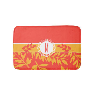 Monogrammed Golden Yellow and Coral Leafy Stems Bathroom Mat