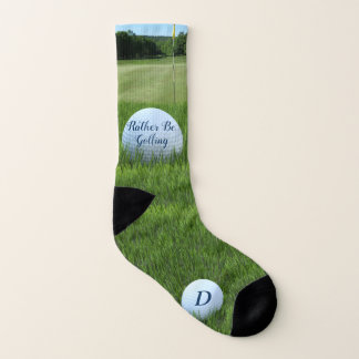 Monogrammed Golf Ball Rather Be Golfing Socks 1