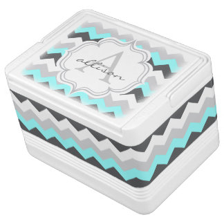Monogrammed Gray and Aqua Chevron Pattern