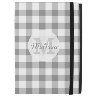 "Monogrammed Gray And White Gingham Check iPad Pro 12.9"" Case"
