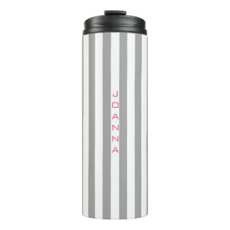 Monogrammed Gray And White Stripes Thermal Tumbler