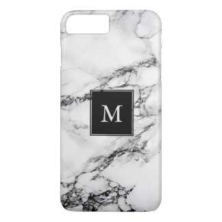 Monogrammed Gray Marble Stone Black And Dark Gray iPhone 7 Plus Case