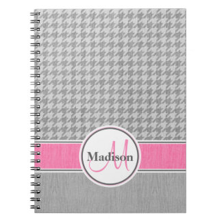 Monogrammed Gray Pink Houndstooth Pattern Notebooks