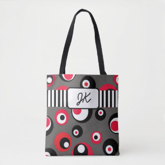 Monogrammed Gray Red Black Dots Abstract Tote Bag