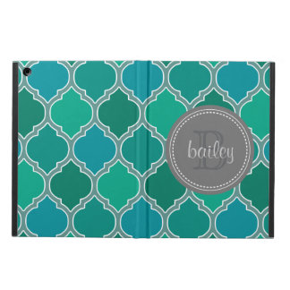 Monogrammed Gray Teal Modern Lattice Pattern Cover For iPad Air