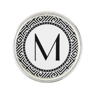 Monogrammed Greek Key Lapel Pin