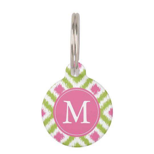 Monogrammed Green and Pink Ikat Diamonds Pattern Pet Name Tag
