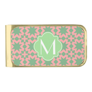 Monogrammed Green and Pink Stylish Chic Pattern Gold Finish Money Clip