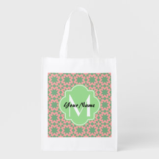 Monogrammed Green and Pink Stylish Chic Pattern Reusable Grocery Bag