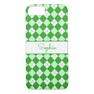 Monogrammed Green Argyle iPhone 8/7 Case