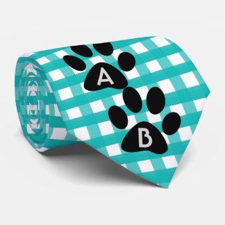 Monogrammed Green Checkered Pattern Pet Paw Print Tie