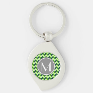 Monogrammed Green Chevron Patchwork Pattern Silver-Colored Swirl Keychain