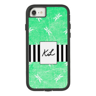 Monogrammed Green Dragonflies Cell Phone Case