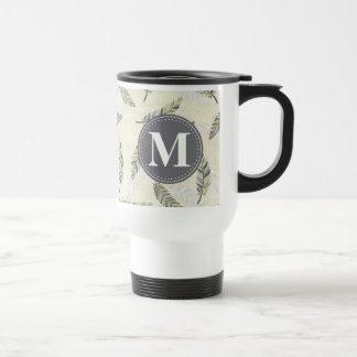 Monogrammed Green Grey Feather Pattern Travel Mug