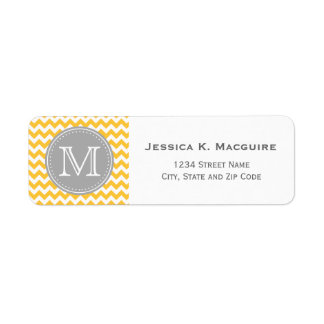 Monogrammed Grey and Sunflower Yellow Chevron Return Address Label