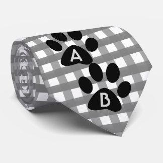 Monogrammed Grey Checkered Pattern w Pet Paw Print Tie