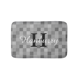 Monogrammed grey mosaic tile pattern bath mat