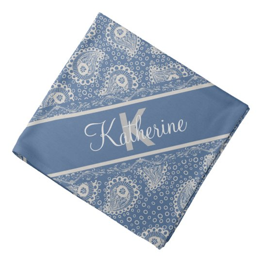 Monogrammed Grey Paisley French Blue Bandana